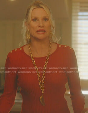 Alexis's red ribbed sweater with gold buttons on Dynasty