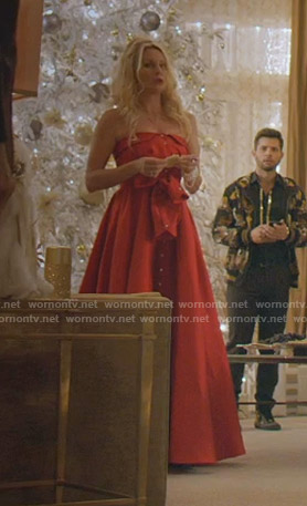 Alexis's red strapless tie front gown on Dynasty
