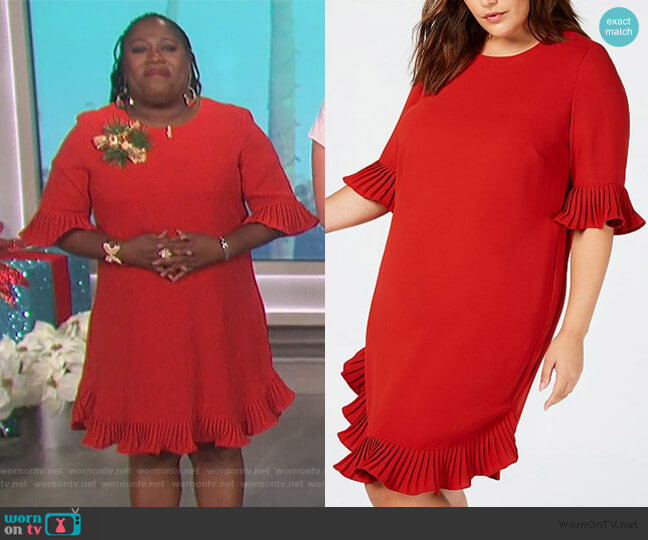 Pleated Flounce Dress by Alfani worn by Sheryl Underwood  on The Talk