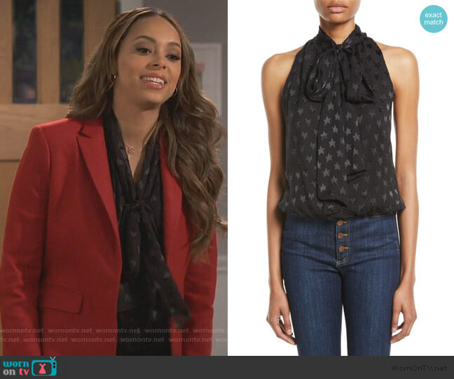 Delphine Tie-Neck Gathered Top by Alice + Olivia worn by Claire (Amber Stevens West) on Happy Together