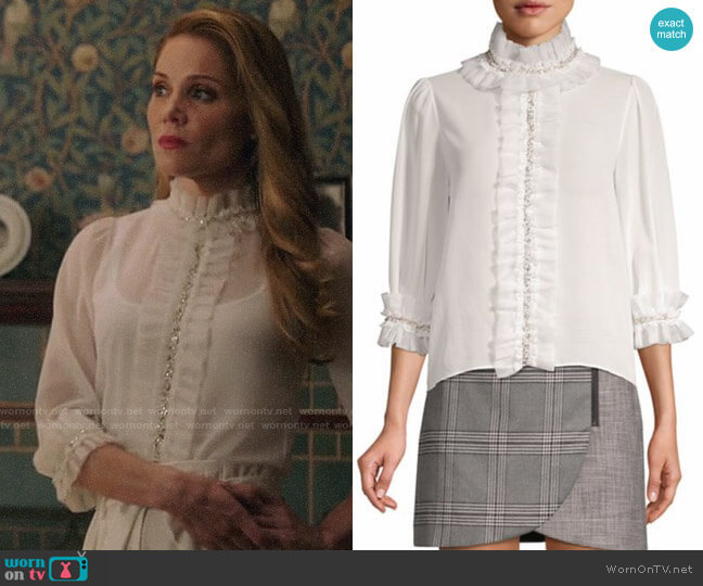 Alice + Olivia Mira Blouse worn by Charity (Virginia Williams) on Charmed