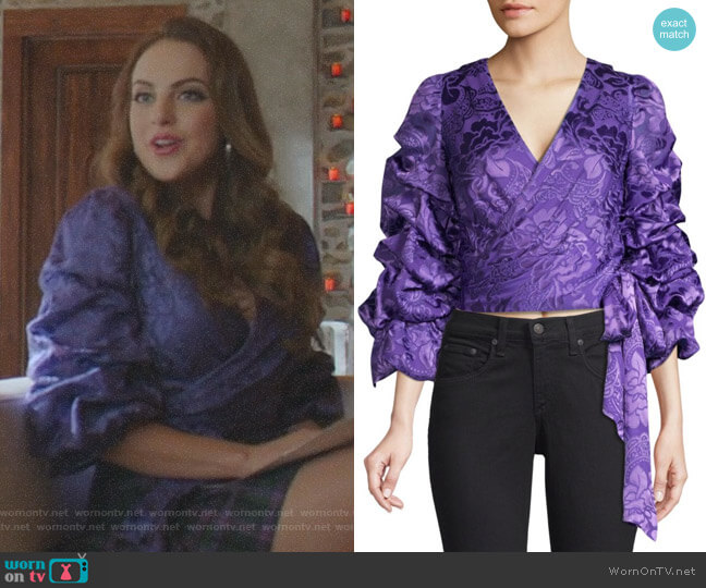 Dominica Top by Alice + Olivia worn by Fallon Carrington (Elizabeth Gillies) on Dynasty