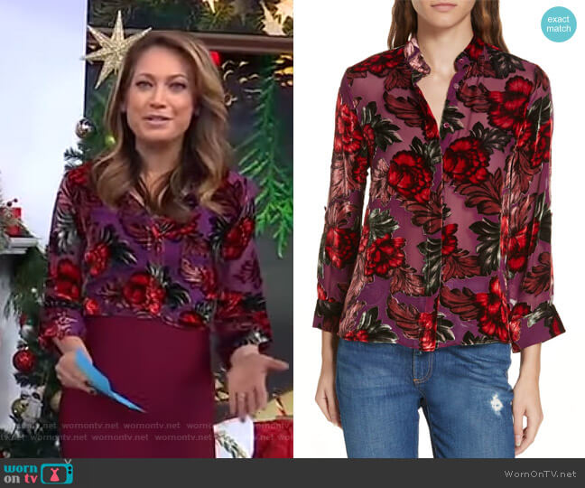 Eloise Blouse by Alice + Olivia worn by Ginger Zee  on Good Morning America