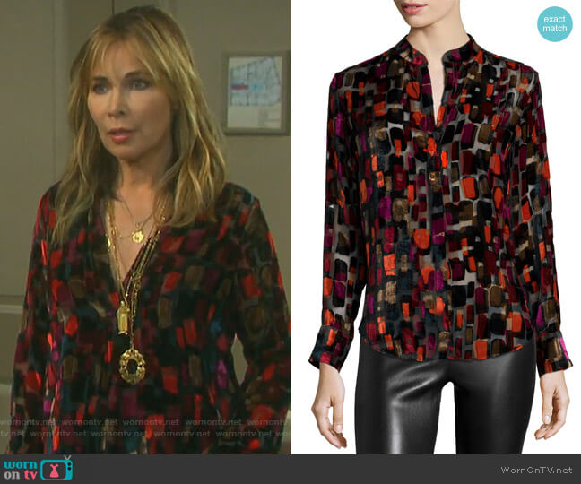Long-Sleeve Velvet-Tile Blouse by Alice + Olivia worn by Kate Roberts (Lauren Koslow) on Days of our Lives