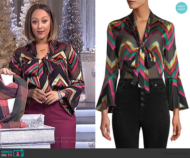 Merideth Top by Alice + Olivia worn by Tamera Mowry  on The Real