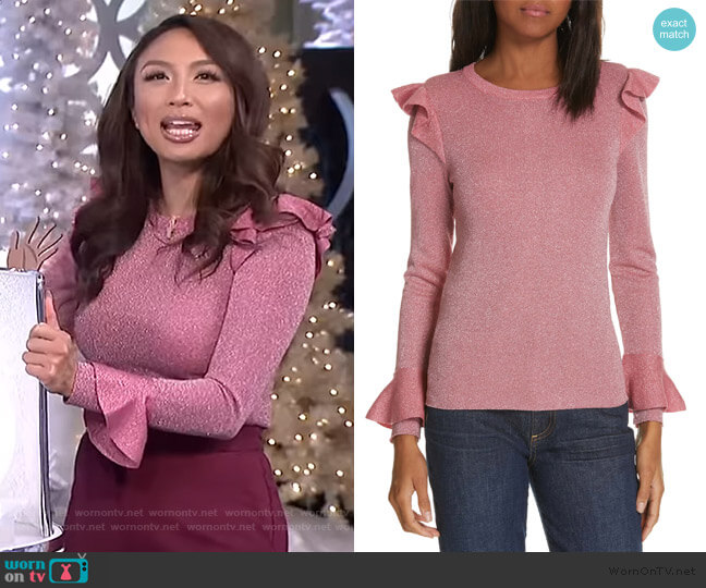 Mittie Ruffled Sweater by Alice + Olivia worn by Jeannie Mai  on The Real