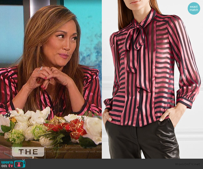 Willis pussy-bow striped satin and chiffon blouse by Alice + Olivia worn by Carrie Inaba (Carrie Inaba) on The Talk