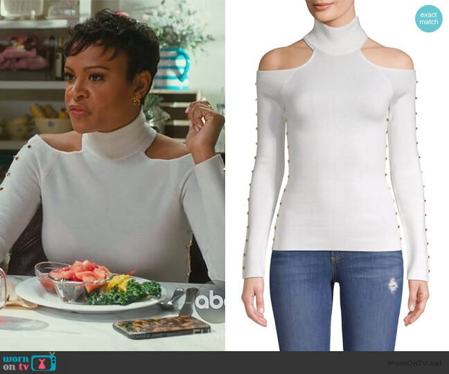 Kahlo Studded Cold-Shoulder Top by Alice + Olivia worn by Angela (Carly Hughes