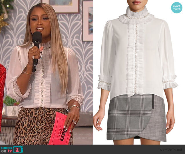 Mira Embellished Ruffle Blouse by Alice + Olivia worn by Eve (Eve) on The Talk
