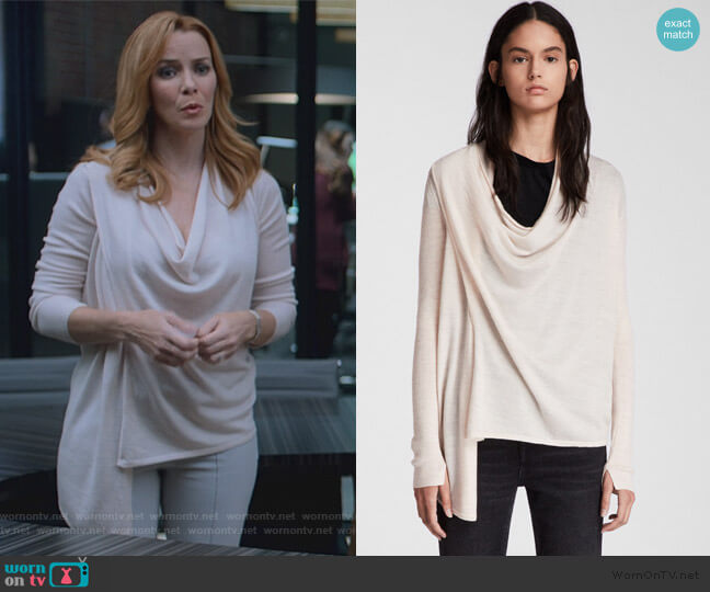 Drina Ribbed Cardigan by All Saints worn by Leslie Dean (Annie Wersching) on Marvels Runaways