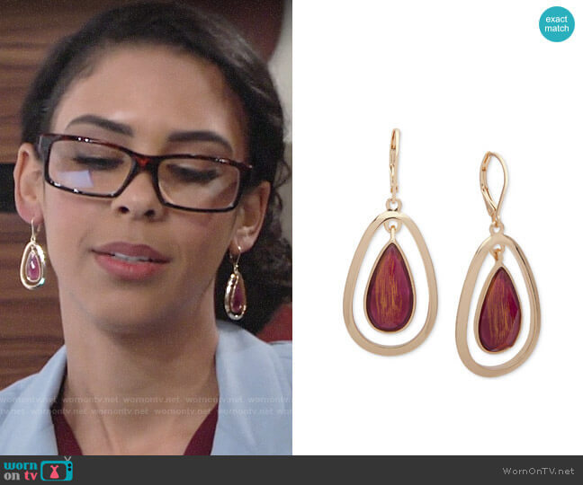 Anne Klein Gold-Tone Stone Orbital Drop Earrings worn by Kerry Johnson (Alice Hunter) on The Young & the Restless