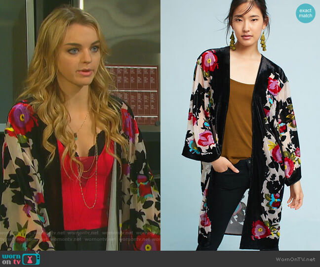 Peyton Kimono by Anthropologie worn by Claire Brady (Olivia Keegan) on Days of our Lives