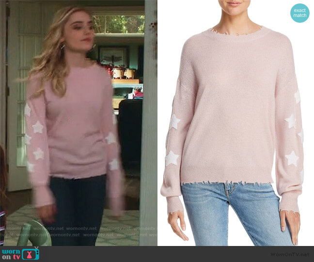 Star-Sleeve Distressed Cashmere Sweater by Aqua Cashmere worn by Taylor Otto (Meg Donnelly) on American Housewife