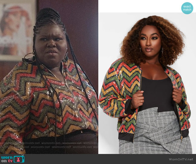 Zig Zag Sequin Bomber Jacket by Ashley Stewart worn by Becky (Gabourey Sidibe) on Empire