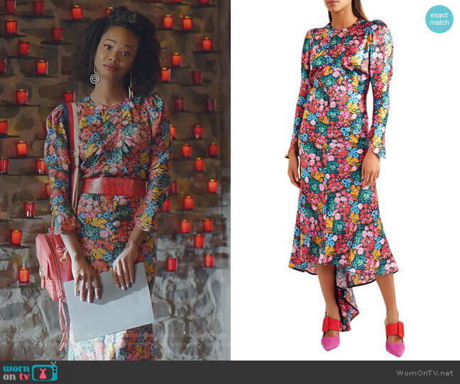 Floral-Print Silk-Satin Midi Dress by Attico worn by Monica Colby (Wakeema Hollis) on Dynasty