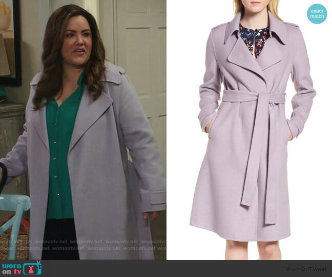 Double Face Wool Blend Wrap Front Coat by Badgley Mischka worn by Katie Otto (Katy Mixon) on American Housewife