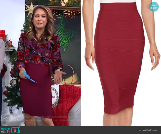 Leger Skirt by Bcbgmaxazria worn by Ginger Zee  on Good Morning America