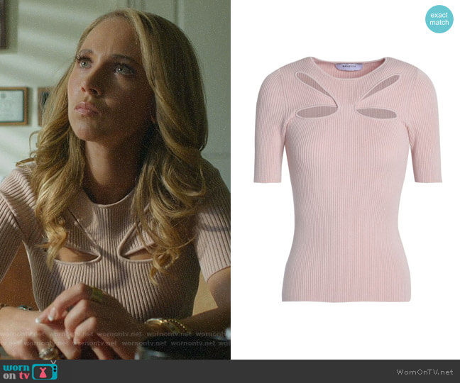 Cutout ribbed-knit top by Bailey 44 worn by Veronica Newell (Juno Temple) on Dirty John