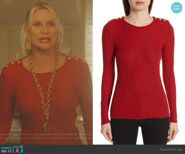 Button Detail Ribbed Sweater by Balmain worn by Alexis Carrington (Nicollette Sheridan) on Dynasty