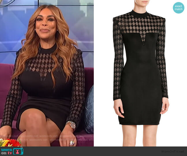 Mini Dress with Sheer Inserts by Balmain worn by Wendy Williams  on The Wendy Williams Show