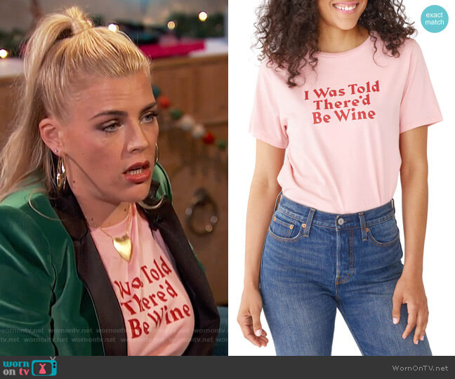 I Was Told There'd Be Wine Tee by Ban.Do worn by Busy Philipps (Busy Philipps) on Busy Tonight