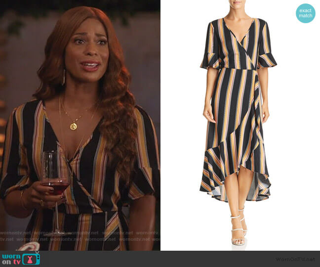 Victoria Herringbone Stripe Wrap Dress by Band of Gypsies worn by Poppy (Kimrie Lewis) on Single Parents