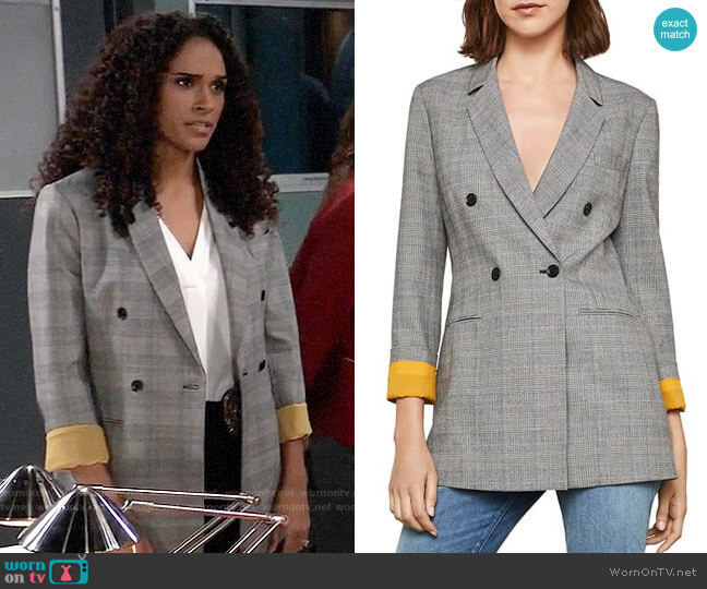 Bcbgmaxazria Glen Plaid Double-breasted Blazer worn by Jordan Ashford (Briana Nicole Henry) on General Hospital