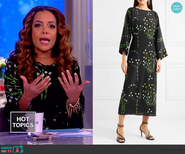 Floral-print silk crepe de chine midi dress by Bernadette worn by Sunny Hostin  on The View