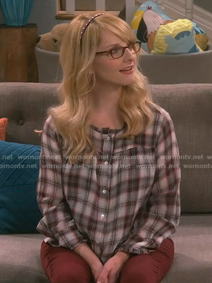 Bernadette's plaid blouse on The Big Bang Theory