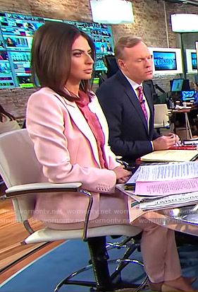 Bianna's pink suit and pleated blouse on CBS This Morning