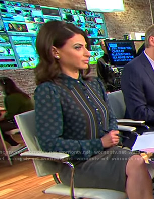 Bianna's printed blouse with striped tie on CBS This Morning
