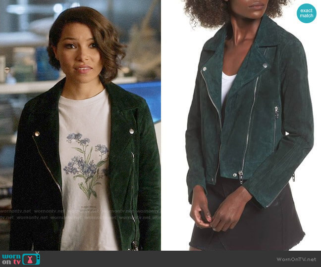 Blank NYC Suede Moto Jacket in Evergreen  worn by Nora West-Allen (Jessica Parker Kennedy) on The Flash