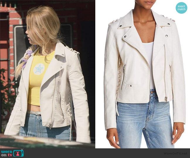 Lace-up Faux Leather Moto Jacket by BlankNYC worn by Karolina Dean (Virginia Gardner) on Marvels Runaways