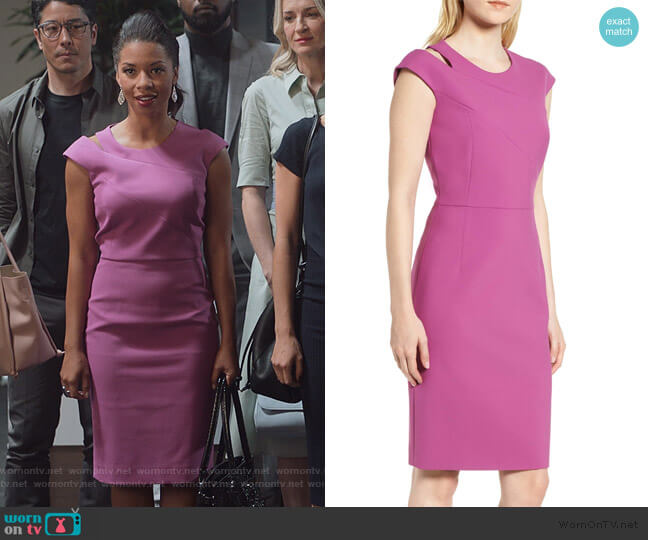 Danouk Ponte Sheath Dress by BOSS worn by Catherine Wilder (Angel Parker) on Marvels Runaways