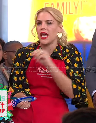 Busy Philipps's black rose print midi dress on Good Morning America