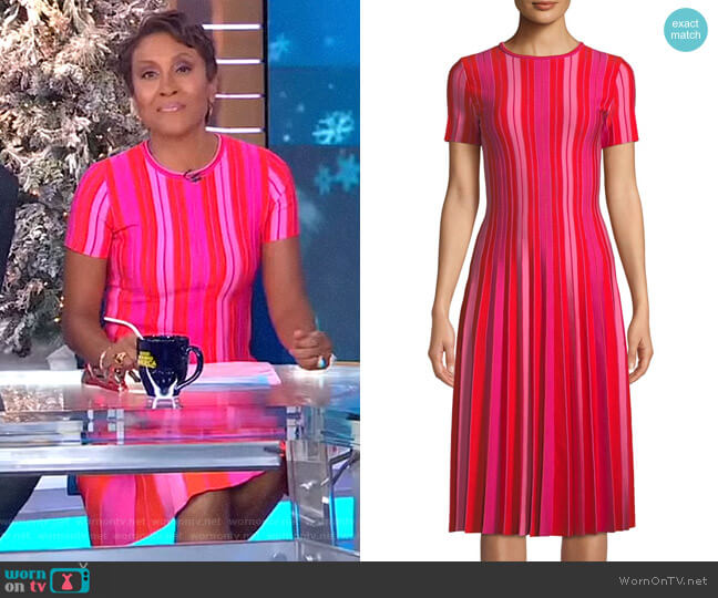 Striped Knit Pleated Dress by Carolina Herrera worn by Robin Roberts (Robin Roberts) on Good Morning America