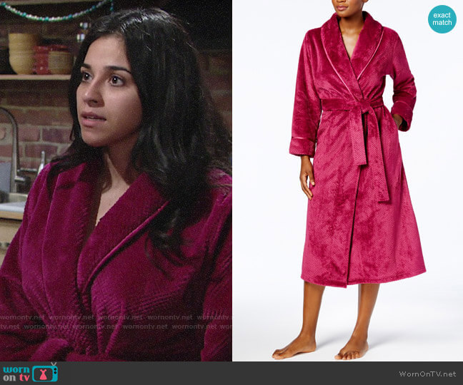 Charter Club Long Dimple Shawl Robe worn by Mia Rosales (Noemi Gonzalez) on The Young & the Restless