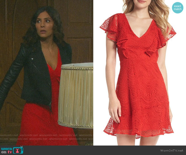 Ruffle Sleeve Lace Fit & Flare Dress by Chelsea28 worn by Gabi Hernandez (Camila Banus) on Days of our Lives