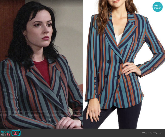 Chelsea28 Stripe Blazer worn by Tessa Porter (Cait Fairbanks) on The Young & the Restless
