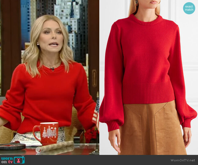 Cashmere Sweater by Chloe worn by Kelly Ripa  on Live with Kelly & Ryan