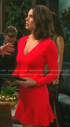 Chloe's red v-neck ruffled hem dress on Days of our Lives