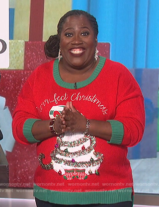 Sheryl's red Christmas cat sweater on The Talk