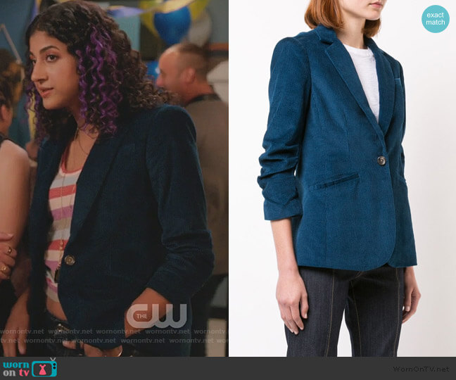Corduroy Blazer by Cinq A Sept worn by Heather Davis (Vella Lovell) on Crazy Ex-Girlfriend