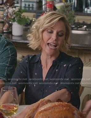 Claire's navy star print blouse on Modern Family
