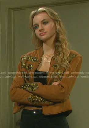 Claire's orange embroidered jacket on Days of our Lives