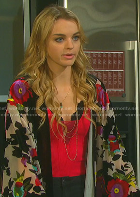 Claire's white floral kimono on Days of our Lives