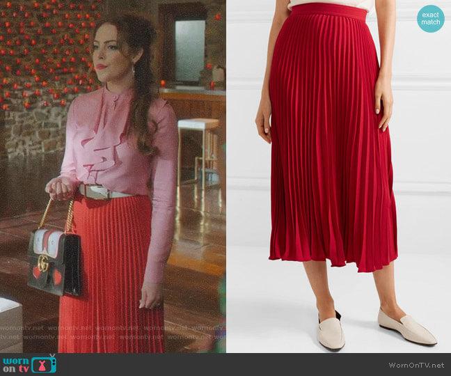 Pleated Midi Skirt by Co worn by Fallon Carrington (Elizabeth Gillies) on Dynasty