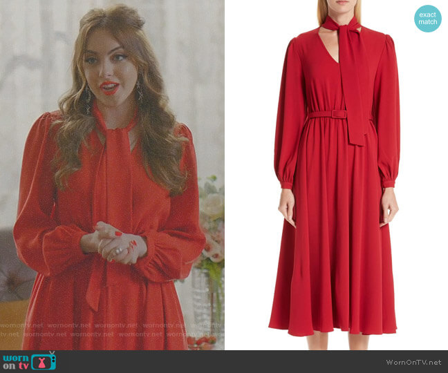 Tie Neck Crepe Dress by Co worn by Elizabeth Gillies on Dynasty