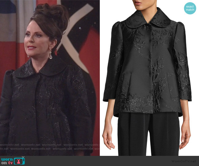 3/4-Sleeve Peter Pan Collar Metallic-Jacquard Jacket by Co worn by Megan Mullally on Will & Grace