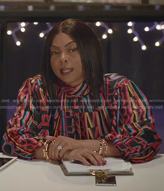 Cookie's black Milano print blouse on Empire